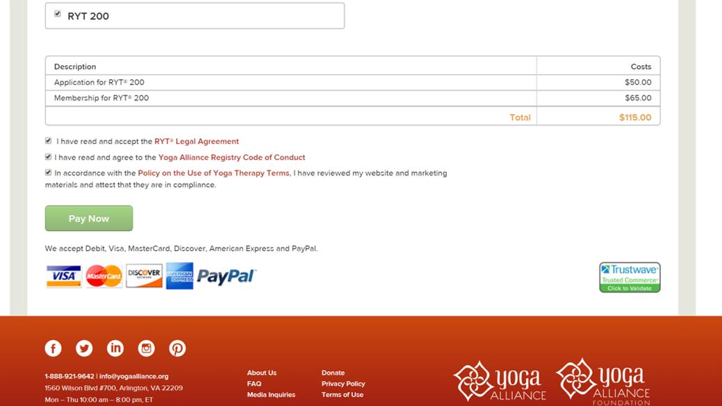 全米ヨガアライアンスRYT200の申請登録の手順9