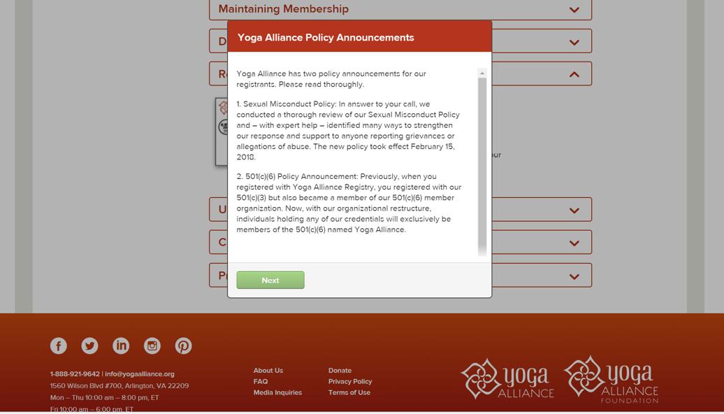全米ヨガアライアンスRYT200の申請登録の手順17