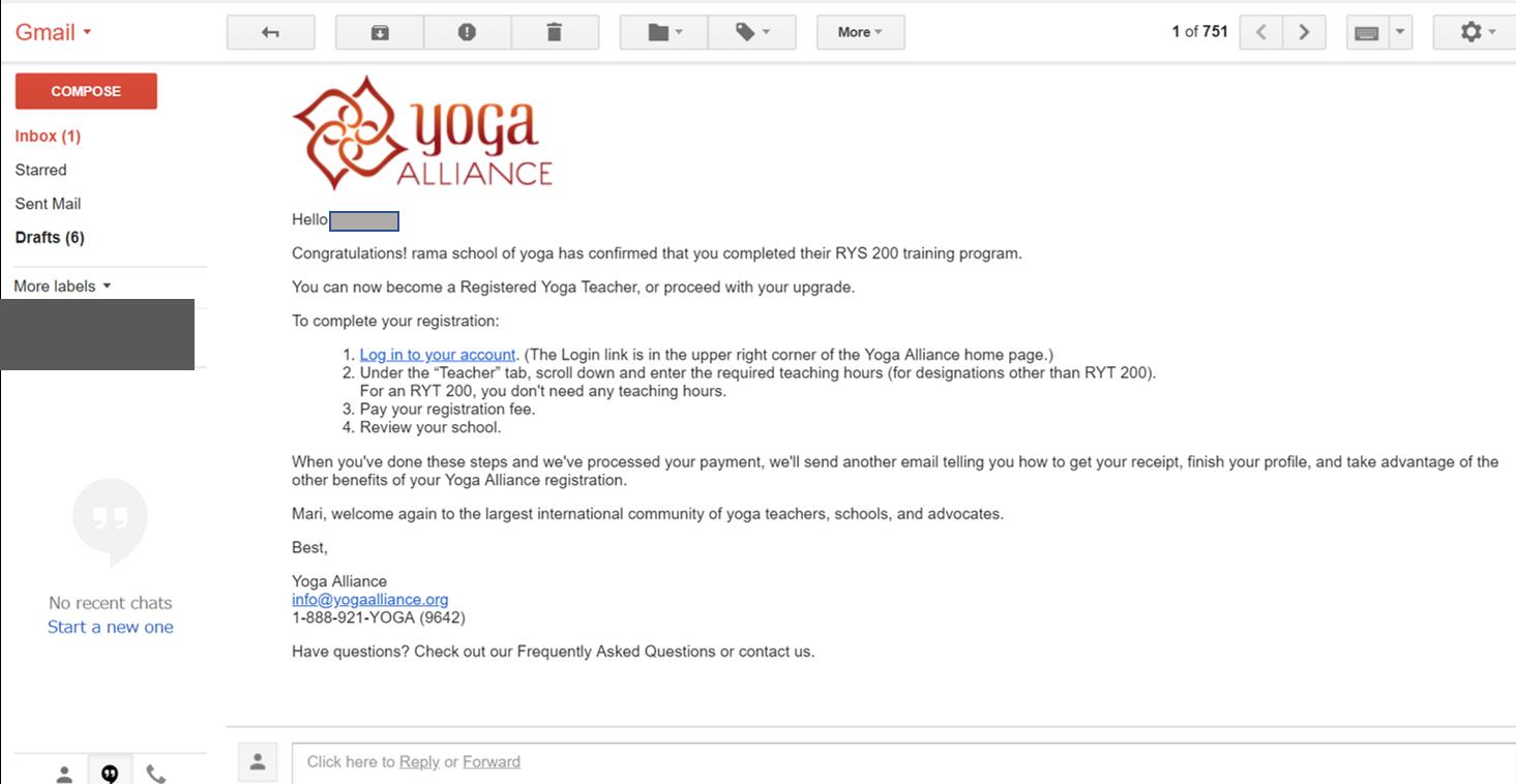 全米ヨガアライアンスRYT200の申請登録の手順6