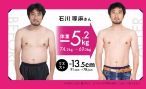 痩せる前と後の男性