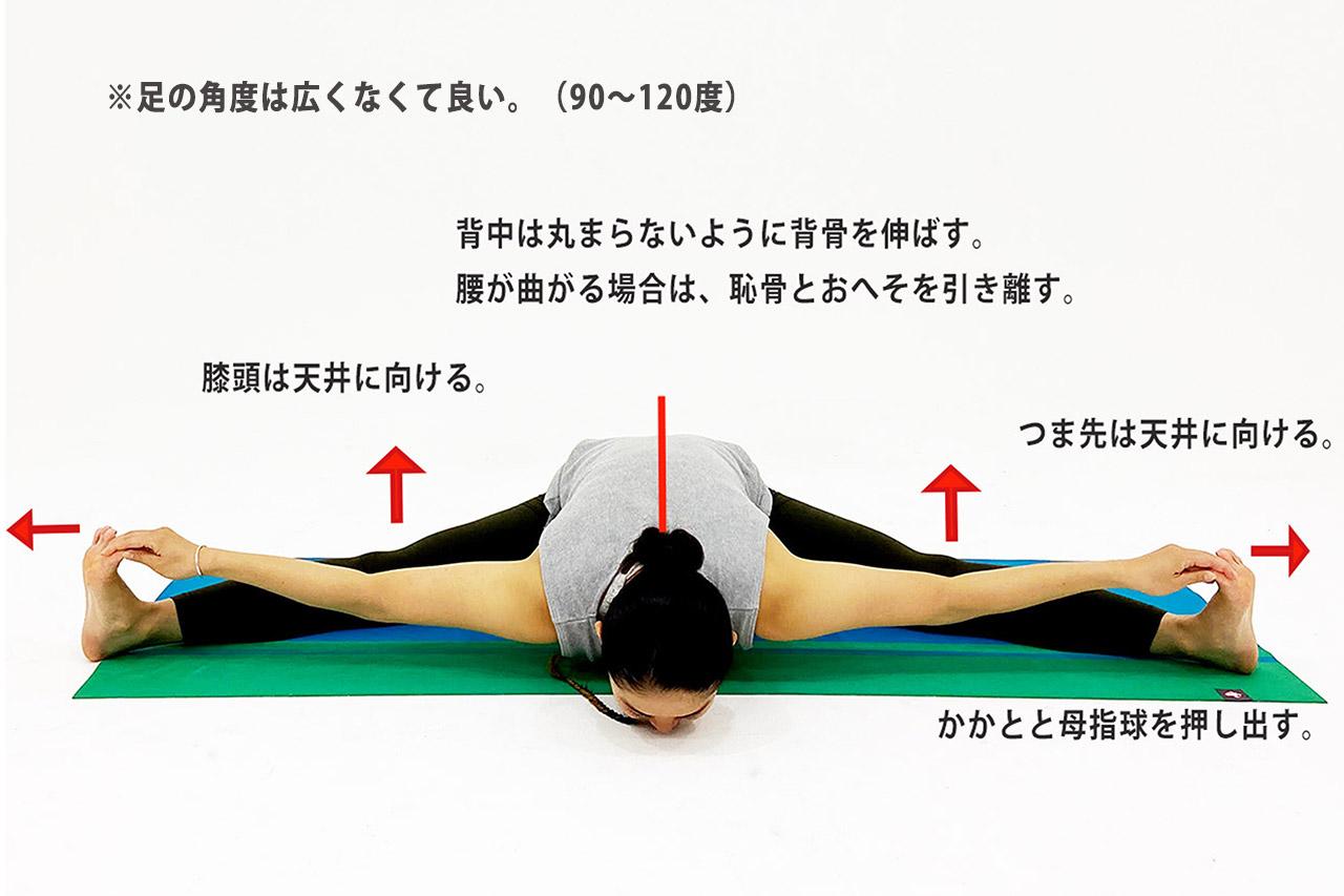 開脚前屈のポーズ(ウパヴィシュタコーナーサナ)のやり方のポイント