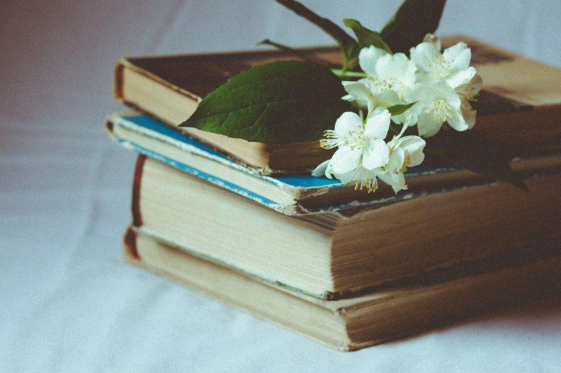 本の上のジャスミンの花